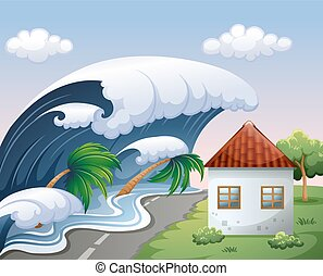 Tsunami with big waves over the house illustration