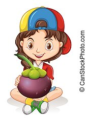 Little girl holding mangosteen illustration