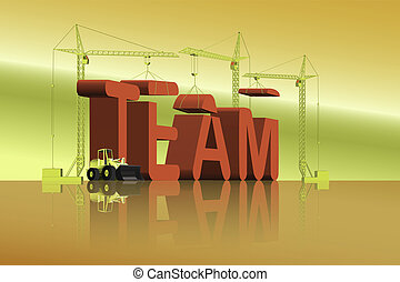 team building - tower cranes constructing 3d word team as a...