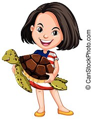 Little girl holding a sea turtle