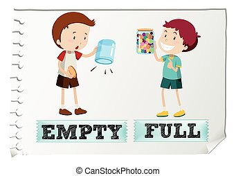 Opposite adjectives with empty and full illustration