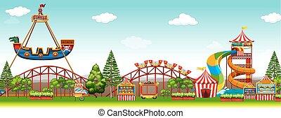 Amusement park scene with rides