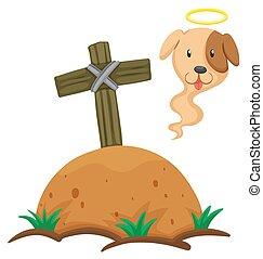Dead dog burried under the ground
