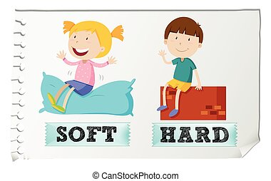 Opposite adjectives soft and hard illustration