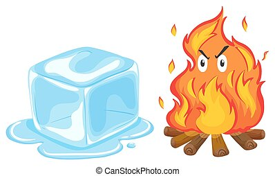 Ice cube and fire illustration