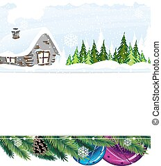 Small house in the forest - Hut in the snow covered pine...