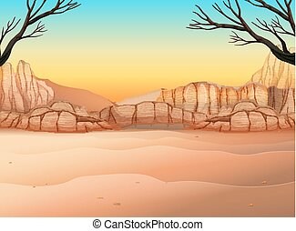 Nature scene with field and canyon illustration