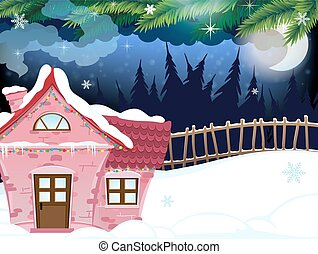 Snow covered forest house - Small brick house in the winter...