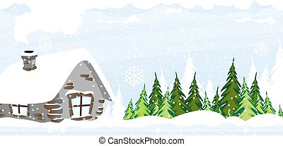 Snow covered hut - Hut in the snow covered pine forest....