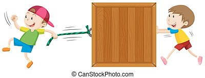 Two boys moving wooden box illustration