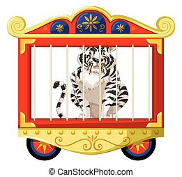 White tiger in circus cage illustration