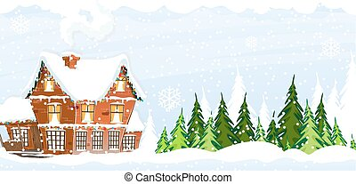Snow-covered Farmhouse - Brick cottage with a smoking...