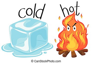 Cold icecube and hot fire illustration