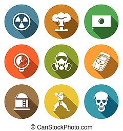 Atomic Energy of Japan Icons Set Vector Illustration -...
