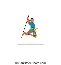 Kalaripayattu Indian martial art Vector Illustration -...