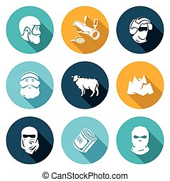 Caucasus Icons Set Vector Illustration - Isolated Flat Icons...