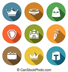 Kingdom Icons Set Vector Illustration - Isolated Flat Icons...