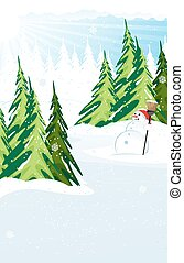 Snowman in a snow covered pine forest
