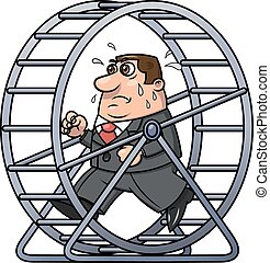 Businessman in a hamster wheel 2 - Illustration of the tired...