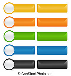 Buttons - Rectangular buttons in different colors on a white...