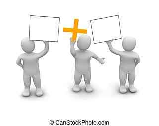 Three men holding up two signs and plus symbol. 3d rendered illustration.