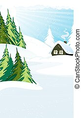 Winter landscape - House with roof covered in snow in a pine...