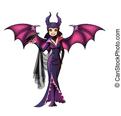 Witch with wings cartoon character isolated