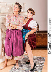 Funny two generations of two women in dirndl - Offended old...