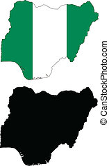 nigeria - vector map and flag of Nigeria with white...