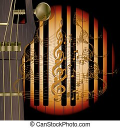 neck of the guitar with music notes