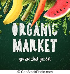 Organic food market, you are what you eat, vector...