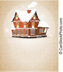 Brick cottage with snow-covered roof on a beige background