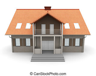 House - 3D rendered Illustration. Isolated on white.
