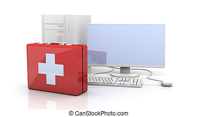 Computer First aid - 3D Illustration. Isolated on white.
