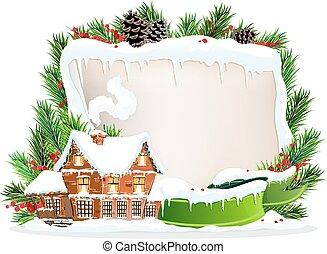 Brick house and Christmas wreath - Brick cottage with...