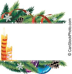 Christmas background with baubles, pine cones and candles -...