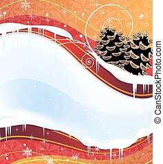 Christmas background with pine cones - Red winter background...