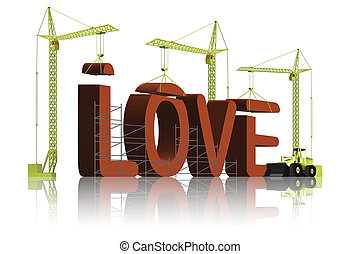 making love - tower cranes creating 3D word