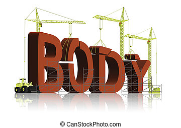 body building - tower cranes building 3D word body