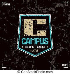 Campus badge - Campus badge. Graphic design for t-shirt....