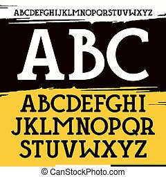 Slab serif font in historical style on brushstrokes...