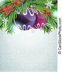 Christmas baubles with holly berry