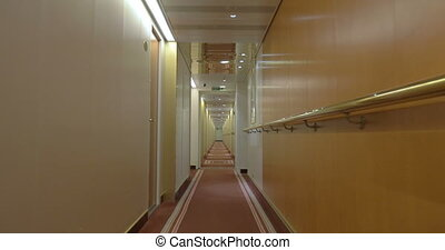 Long Corridor Of Ocean Cruise Ship - Steadicam shot of...