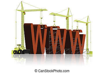 Website WWW under construction - Tree tower cranes building...