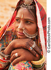 Indian woman portrait - Portrait of an Indian Rajasthani...