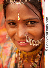 Traditional Indian girl smiling - Portrait of traditional...