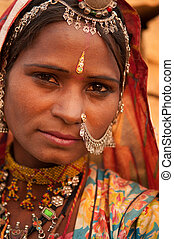 Portrait of traditional Indian girl - Close up portrait of...