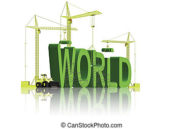 creating a green world - tower cranes creating 3D word