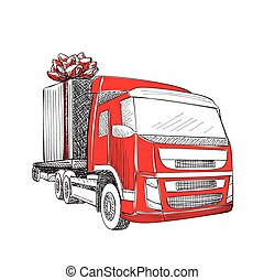 Delivery transport truck - Truck van Christmas gift box bow...