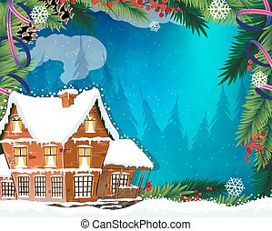 Christmas House in winter forest - Brick cottage with a...